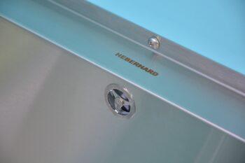 307659B Waschtrog Edelstahl gross Gewerberiese Überlauf und Logo