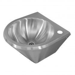 Edelstahl Waschtisch V mit Hahnloch 32 mm rechts