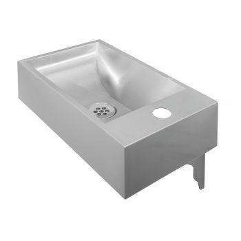 Edelstahl Waschtisch Elinda 40x23 mit Hahnloch links oder rechts Montage mit Konsolen