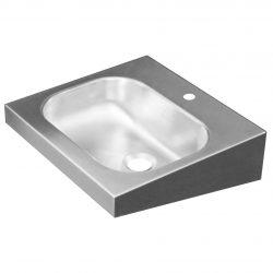 Edelstahl Waschtisch 40x38 ohne Überlauf mit Hahnloch 35 mm