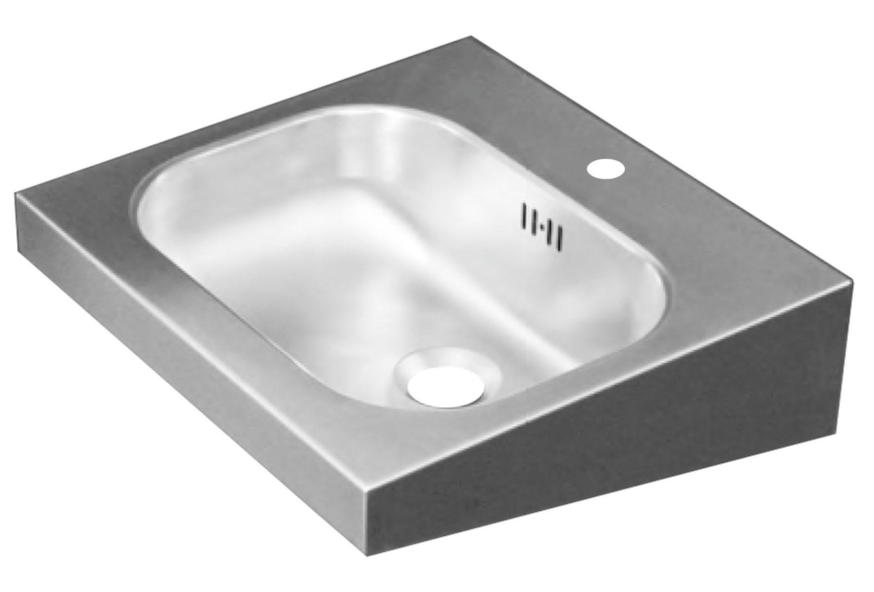 Edelstahl Waschtisch 40x38 mit Überlauf mit Hahnloch 35 mm