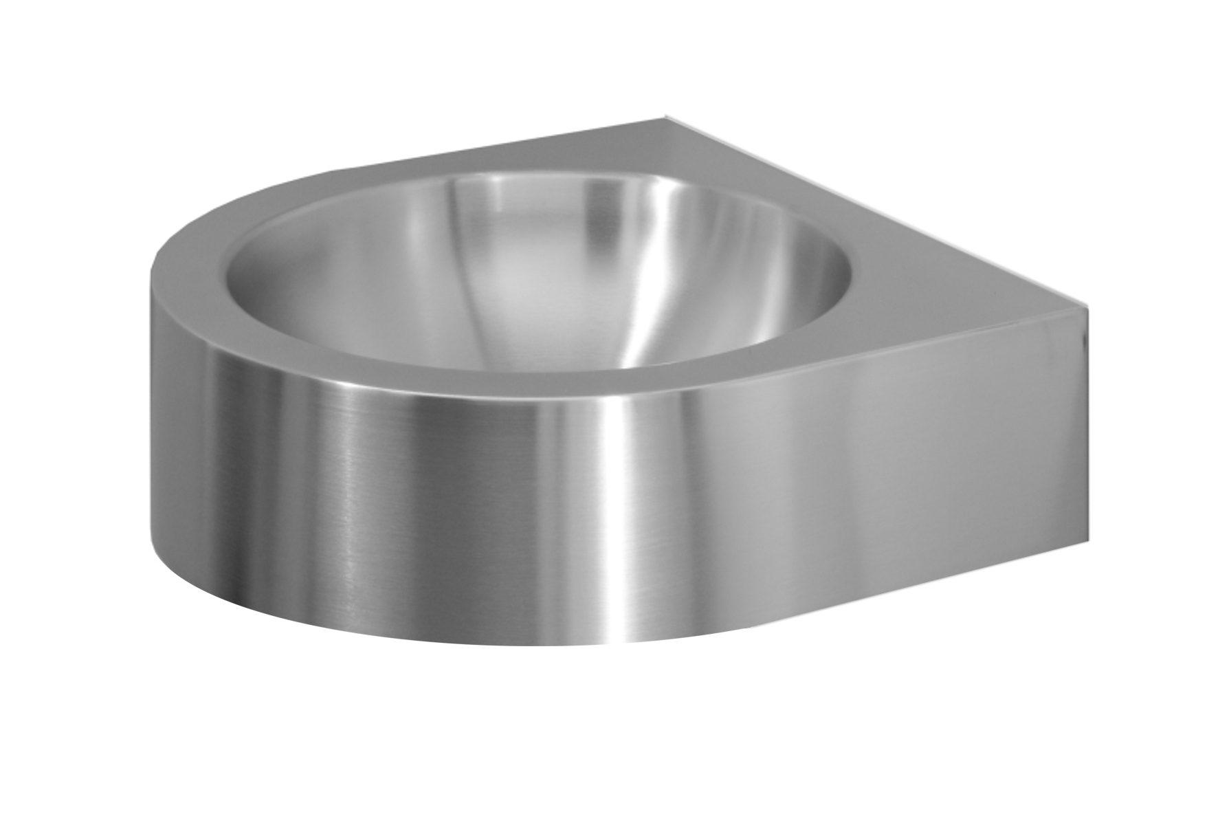 Edelstahl Waschtisch Final 44x44 Beckentiefe 150 mm halbrund