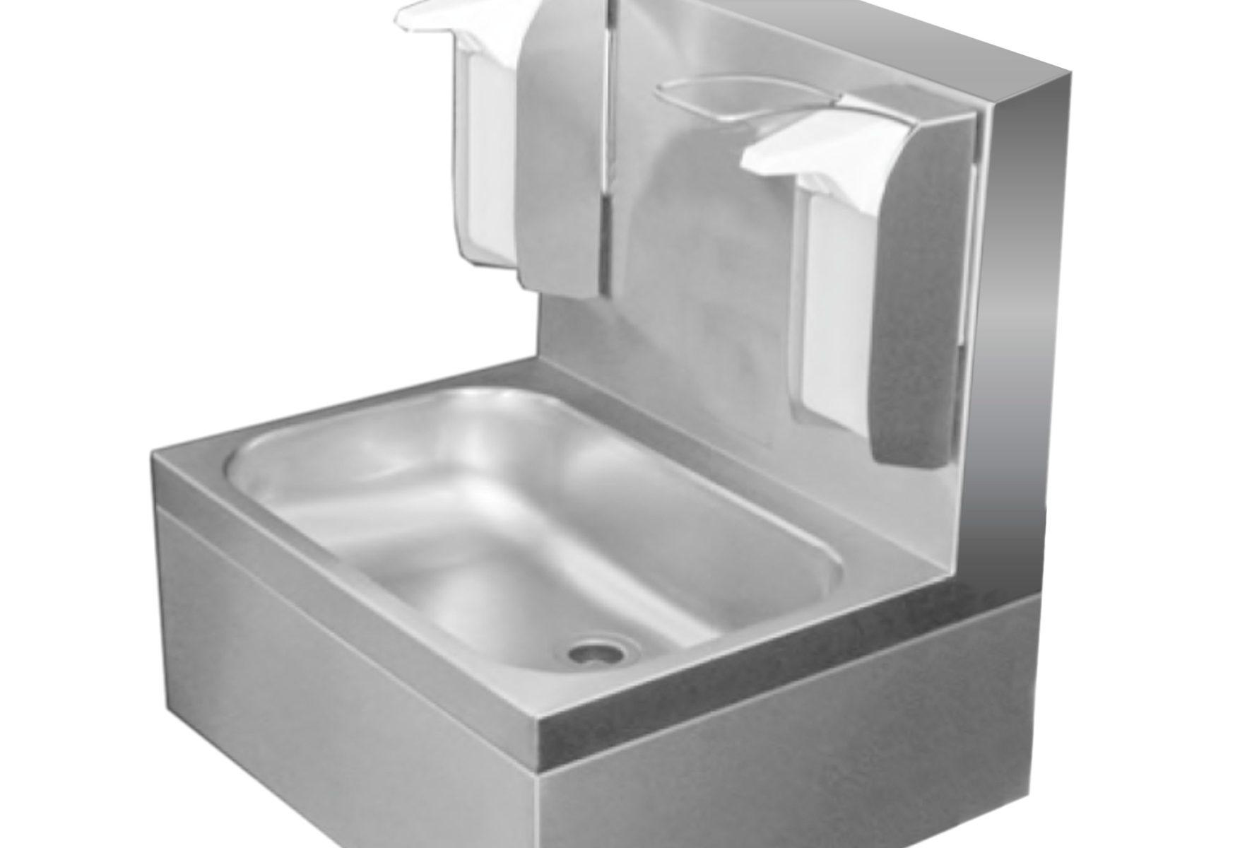 Edelstahl Waschtisch Hygiene 55 mit Rückwand 20 mm