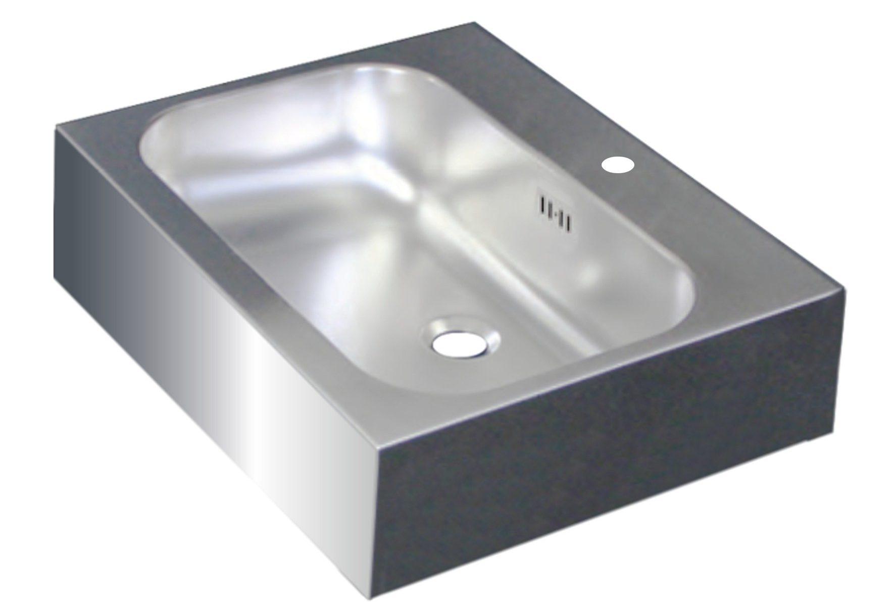 Edelstahl Waschtisch GEOMETRIK 55x44 mit Überlauf mit Hahnloch