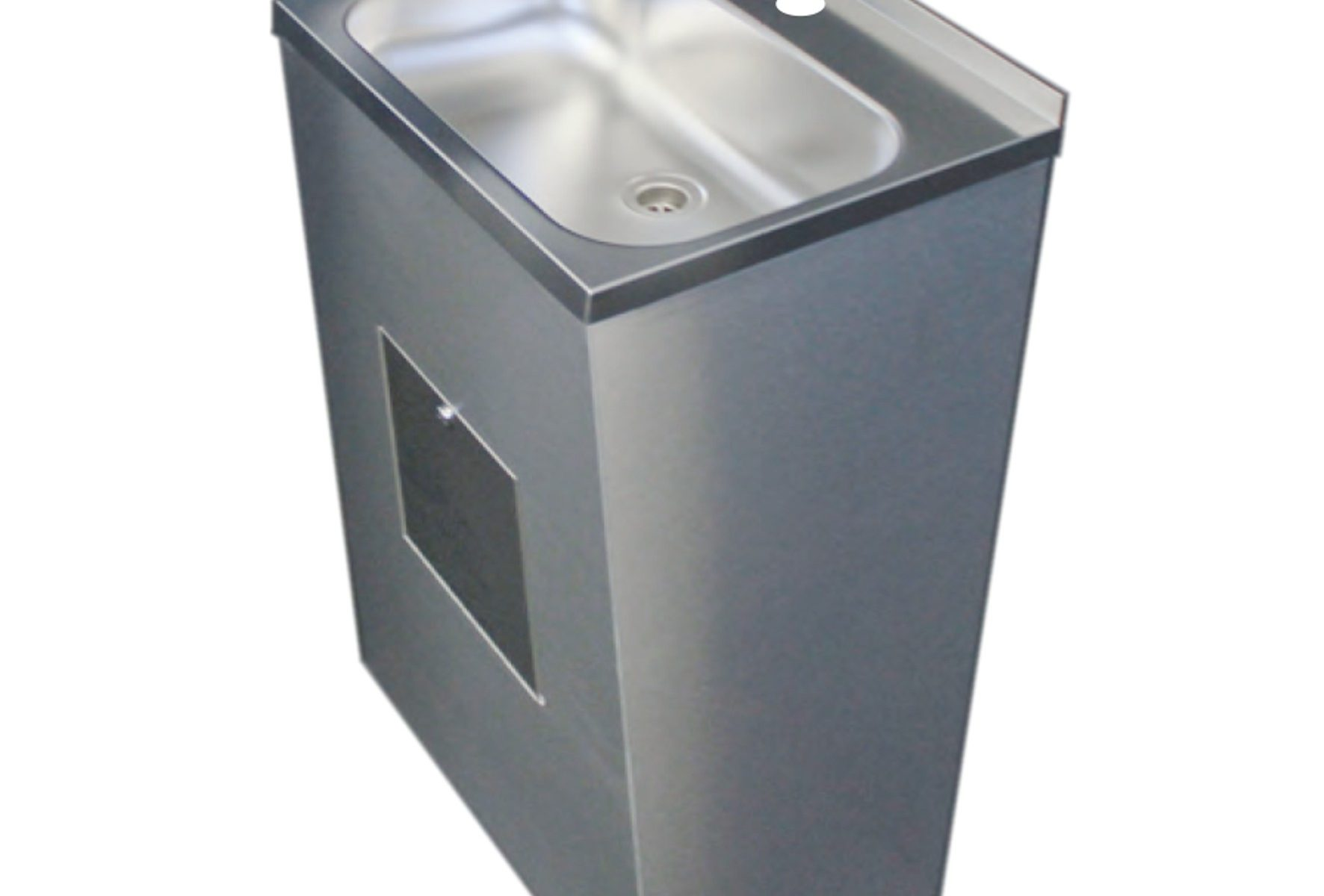 Bodenstehender Edelstahl Waschtisch 55x44xH80 mit Unterbau und Hahnloch
