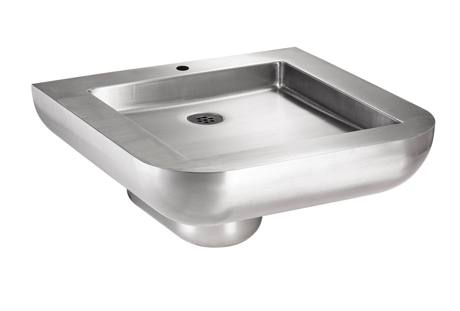 Edelstahl Behinderten-Waschtisch 55x55x130-280 mit Hahnloch