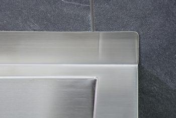 407120 Edelstahl Waschrinne Geometrik Rückseitige Aufkantung