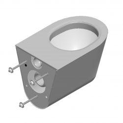 650602 Edelstahl Justiz-WC mit M12 Gewindestangen-Befestigung