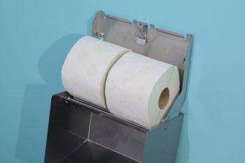 840552 Edelstahl 2-fach-WC-Rollenhalter-waagrecht geöffnet